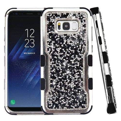 Insten Tuff Hard Dual Layer Bling Silicone Cover Case For Samsung Galaxy S8 - Black/Silver