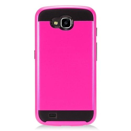Insten Hard Hybrid Brushed TPU Case For LG X Venture - Hot Pink/Black