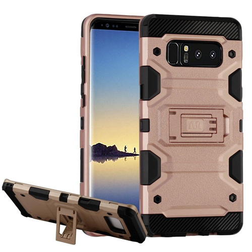 Insten Storm Tank Hard Hybrid TPU Case w/stand For Samsung Galaxy Note 8 - Rose Gold/Black