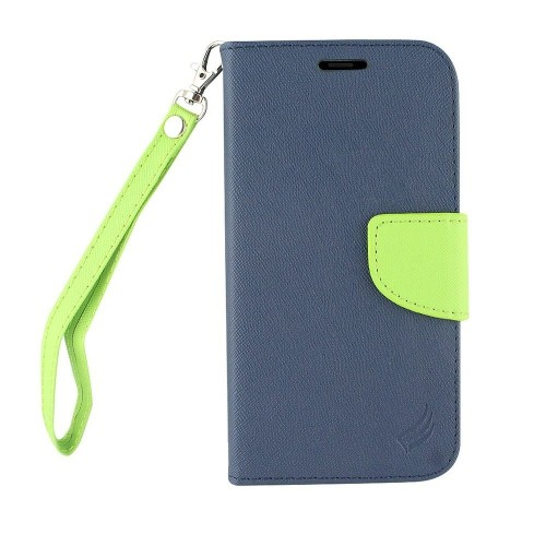 Insten Flip Leather Fabric Case Lanyard w/stand/card slot For Samsung Galaxy Note 8, Blue/Green
