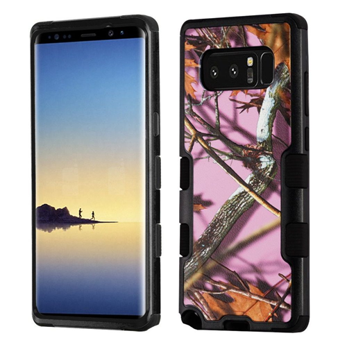 Insten Oak-Hunting Camouflage Hard Dual Layer Plastic TPU Case For Samsung Galaxy Note 8, Pink/Black