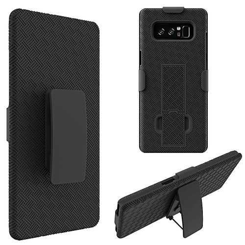 Insten Hard Hybrid Plastic TPU Cover Case w/stand/Holster For Samsung Galaxy Note 8 - Black