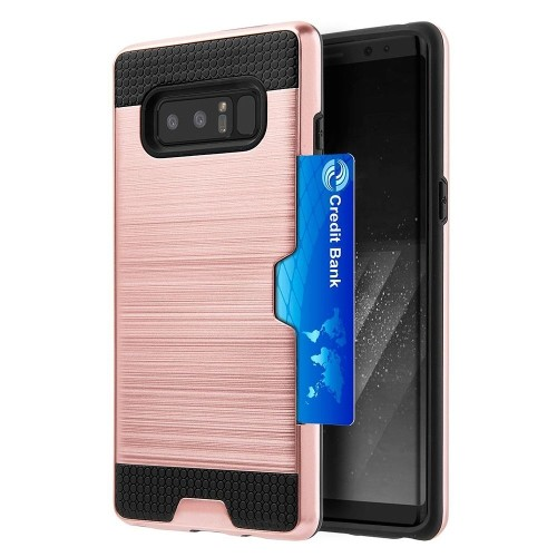 Insten Hard Hybrid Brushed TPU Case w/card slot For Samsung Galaxy Note 8, Rose Gold/Black