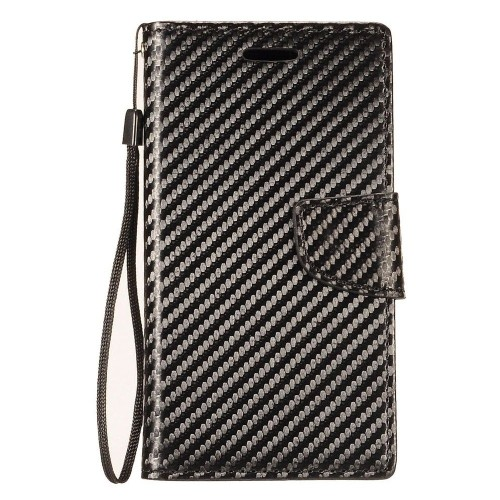 Insten Carbon Fiber Flip Leather Fabric Case Lanyard w/card holder For Samsung Galaxy Note 8, Black