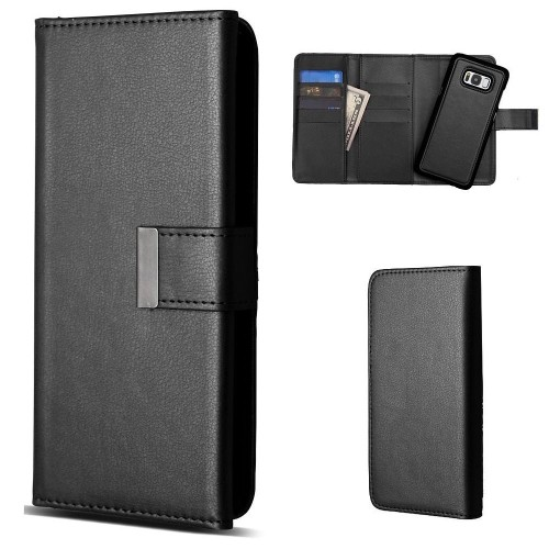 Insten Detachable Magnetic Flip Leather Fabric Case w/card holder For Samsung Galaxy S8 - Black