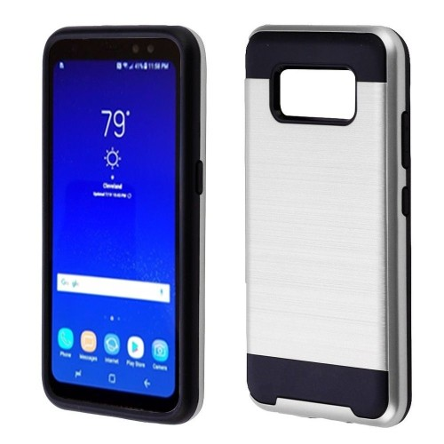 Insten Hard Dual Layer Brushed TPU Cover Case For Samsung Galaxy S8 Active - Silver/Black