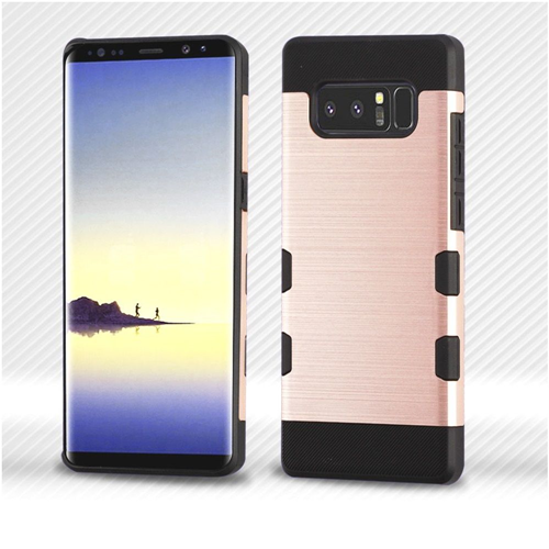 Insten Tuff Hard Dual Layer Brushed TPU Cover Case For Samsung Galaxy Note 8 - Rose Gold/Black