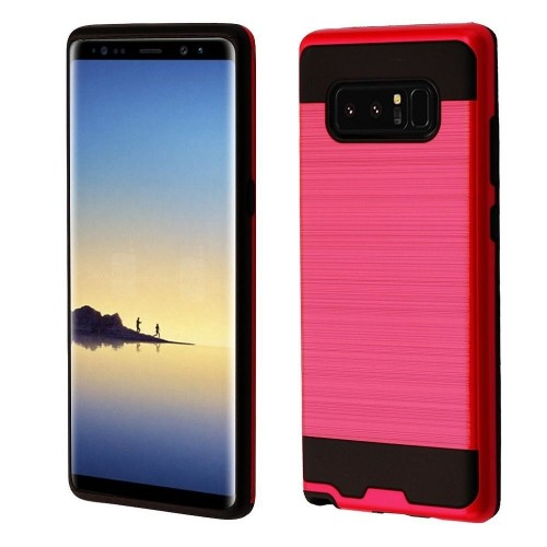 Insten Hard Dual Layer Brushed TPU Cover Case For Samsung Galaxy Note 8 - Red/Black