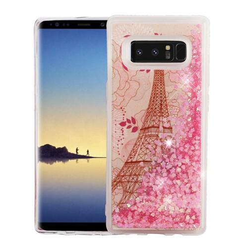 Insten Quicksand Glitter Eiffel Tower Hard Plastic TPU Case For Samsung Galaxy Note 8 - Pink