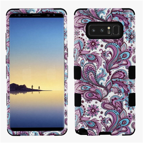 Insten European Flowers Hard Dual Layer Plastic TPU Case For Samsung Galaxy Note 8, Purple/Black