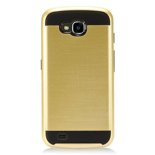Insten Hard Dual Layer Brushed TPU Case For LG X Venture - Gold/Black