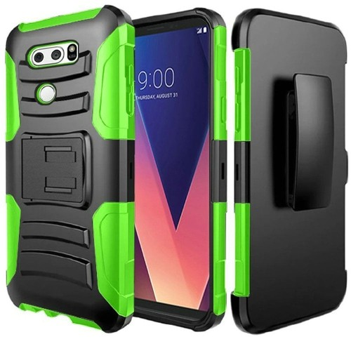 Insten Hard Hybrid Plastic Silicone Cover Case w/stand/Holster For LG V30 - Black/Green