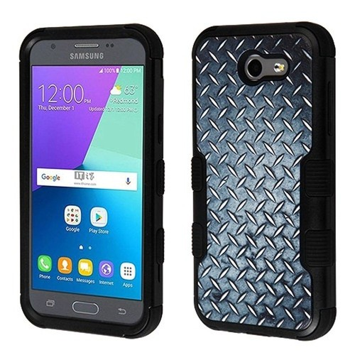 Insten Aluminum Treads Hard Case For Samsung Galaxy J3 (2017)/J3 Emerge/J3 Luna Pro, Black