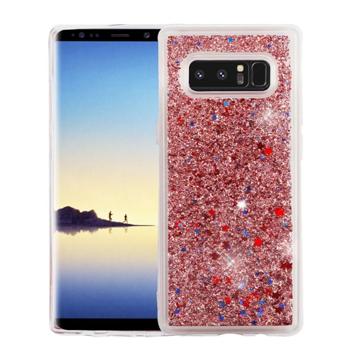 Insten Quicksand Glitter Stars Hard Plastic TPU Case For Samsung Galaxy Note 8 - Rose Gold