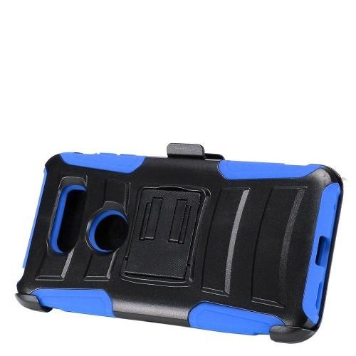 Insten Advanced Armor Hard Hybrid Plastic Silicone Cover Case w/stand/Holster For LG V30, Black/Blue