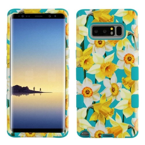 Insten Spring Daffodils Hard Hybrid Plastic TPU Cover Case For Samsung Galaxy Note 8, Multi-Color