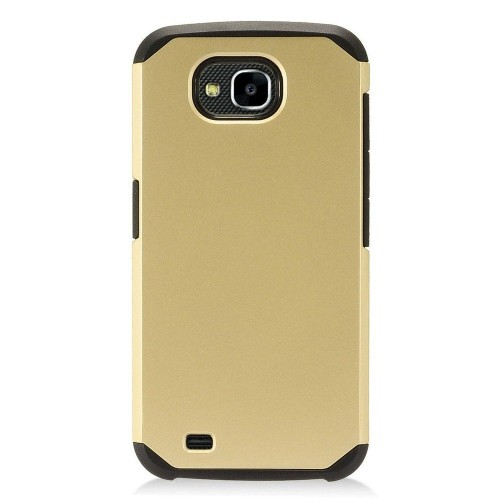 Insten Hard Dual Layer Plastic TPU Case For LG X Venture - Gold/Black