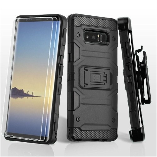 Insten Storm Tank Hard Hybrid Plastic TPU Case w/stand/Holster For Samsung Galaxy Note 8 - Black
