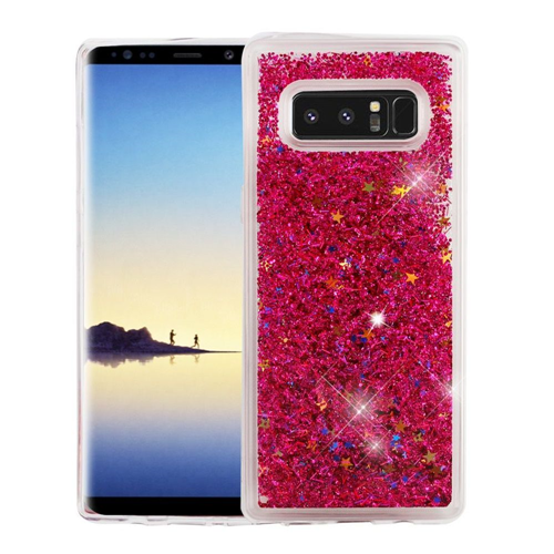 Insten Quicksand Glitter Stars Hard Plastic TPU Cover Case For Samsung Galaxy Note 8 - Hot Pink
