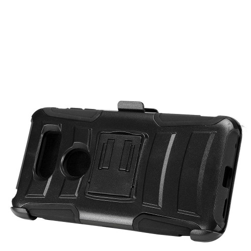 Insten Advanced Armor Hard Dual Layer Plastic Silicone Case w/stand/Holster For LG V30 - Black