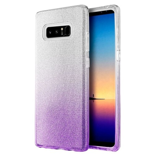 Insten Starry Dazzle Hard Plastic TPU Case For Samsung Galaxy Note 8 - Silver/Purple