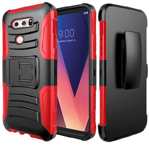 Insten Hard Hybrid Plastic Silicone Case w/stand/Holster For LG V30 - Black/Red
