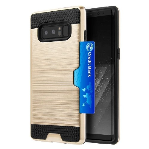 Insten Card To Go Hard Brushed TPU Case w/card holder For Samsung Galaxy Note 8, Gold/Black