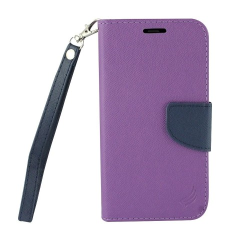 Insten Folio Leather Fabric Case Lanyard w/stand/card holder For Samsung Galaxy Note 8, Purple