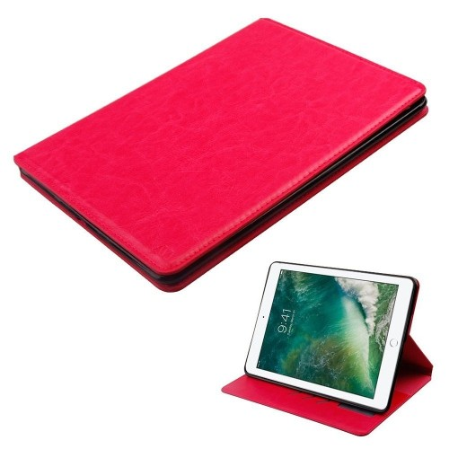 "Insten Folio Leather Fabric Cover Case w/card holder/Photo Display For iPad 9.7"" (2017), Hot Pink"