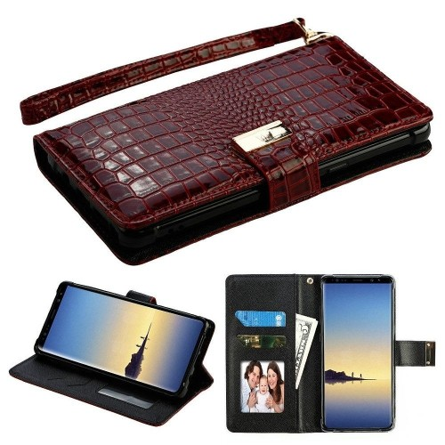 Insten Folio Leather Crocodile Case Lanyard w/stand/card holder For Samsung Galaxy Note 8, Burgundy