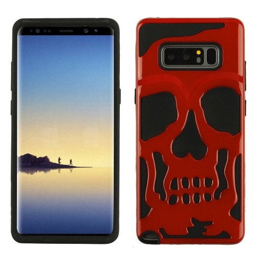 Insten Skullcap Hard Plastic TPU Case For Samsung Galaxy Note 8 - Red/Black