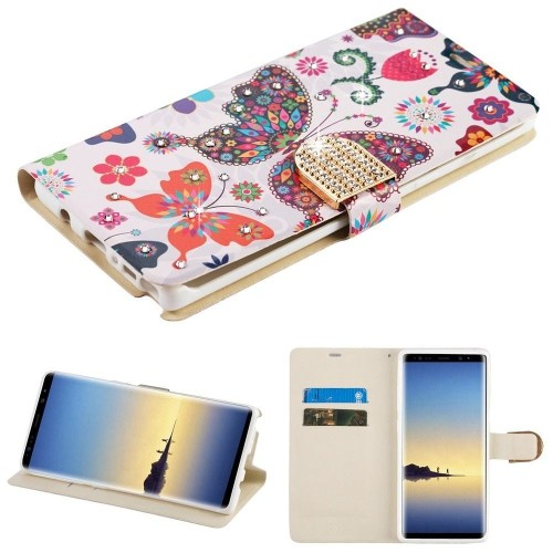 Insten Butterfly Wonderland Flip Leather Case w/card holder For Samsung Galaxy Note 8, Multi-Color