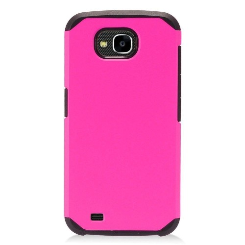 Insten Hard Hybrid Plastic TPU Cover Case For LG X Venture - Hot Pink/Black