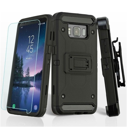 Insten 3-in-1 Kinetic Hard Hybrid TPU Case w/Holster/Bundled For Samsung Galaxy S8 Active, Black