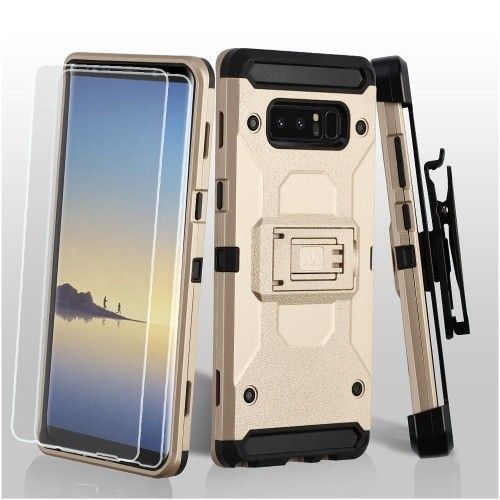 Insten Hard Hybrid Plastic TPU Case w/stand/Holster/Bundled For Samsung Galaxy Note 8, Gold/Black