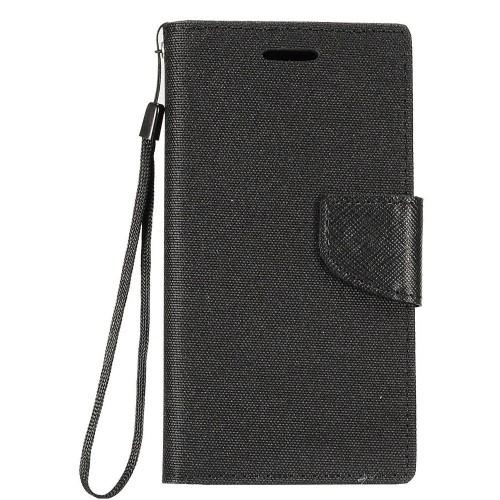 Insten Denim Fabric Case Lanyard w/stand/card holder/Photo Display For Samsung Galaxy Note 8 - Black