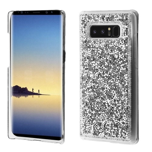 Insten Hard Rhinestone Case For Samsung Galaxy Note 8 - Silver