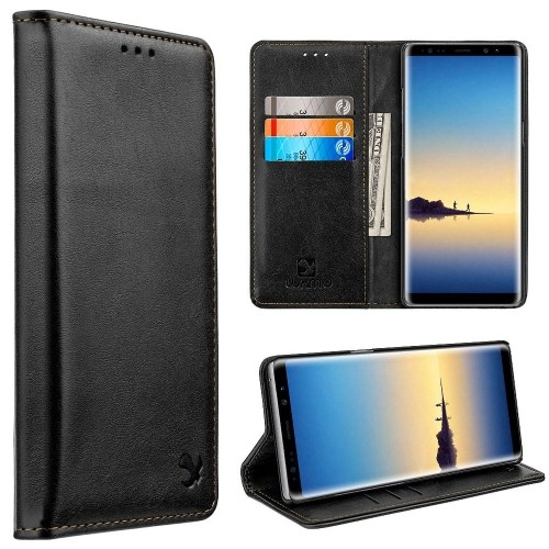 Gentleman Flip Leather Fabric Cover Case w/stand/card holder For Samsung Galaxy Note 8 - Black