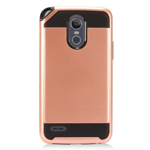 Insten Hard Dual Layer Brushed TPU Case For LG Stylo 3 Plus - Rose Gold/Black