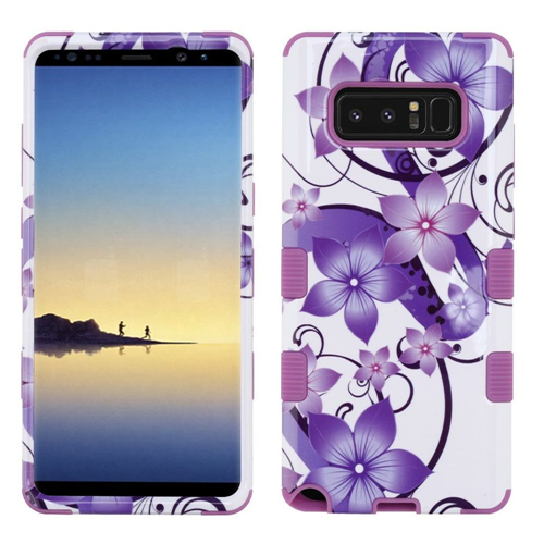Insten Hibiscus Flower Romance Hard Plastic TPU Cover Case For Samsung Galaxy Note 8, Purple