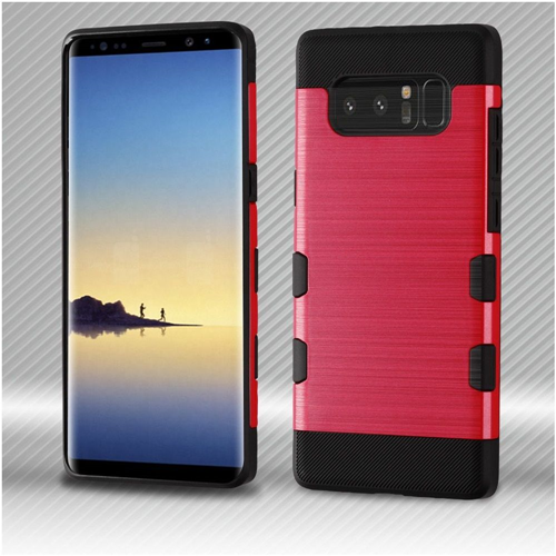 Insten Tuff Hard Dual Layer Brushed TPU Case For Samsung Galaxy Note 8 - Red/Black