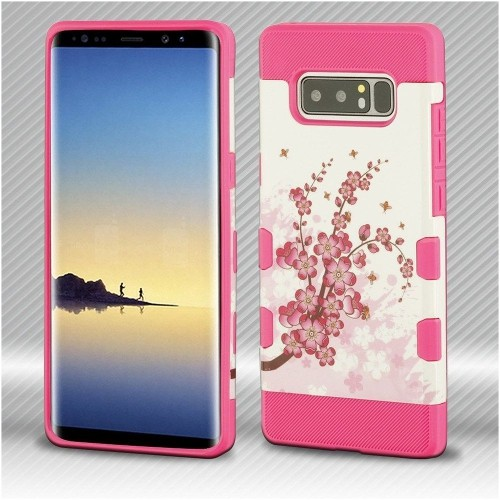Insten Tuff Spring Daffodils Hard Hybrid Plastic TPU Case For Samsung Galaxy Note 8 - Hot Pink