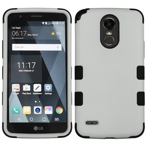 Insten Tuff Hard Dual Layer Plastic Silicone Case For LG Stylo 3/Stylo 3 Plus - Gray/Black