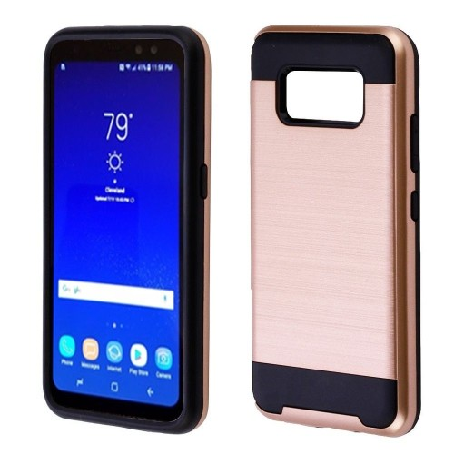 Insten Hard Dual Layer Brushed TPU Case For Samsung Galaxy S8 Active - Rose Gold/Black