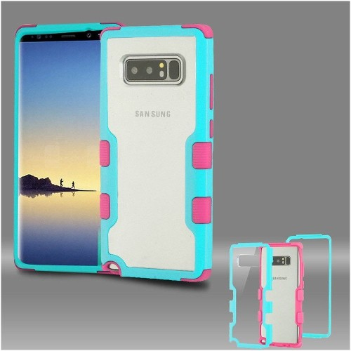 Insten Tuff Hard Dual Layer Plastic TPU Case For Samsung Galaxy Note 8 - Clear/Teal