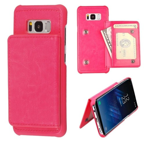 Insten Protector Leather Fabric TPU Case Wallet w/card slot For Samsung Galaxy S8 Plus, Hot Pink