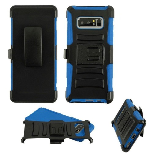 Insten Advanced Armor Hard Plastic TPU Case w/stand/Holster For Samsung Galaxy Note 8, Black/Blue
