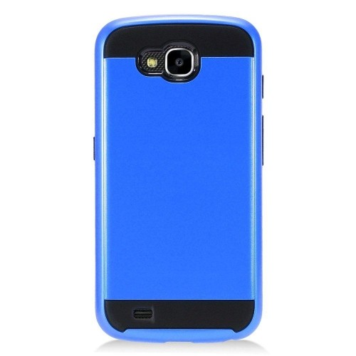 Insten Hard Hybrid Brushed TPU Case For LG X Venture - Blue/Black