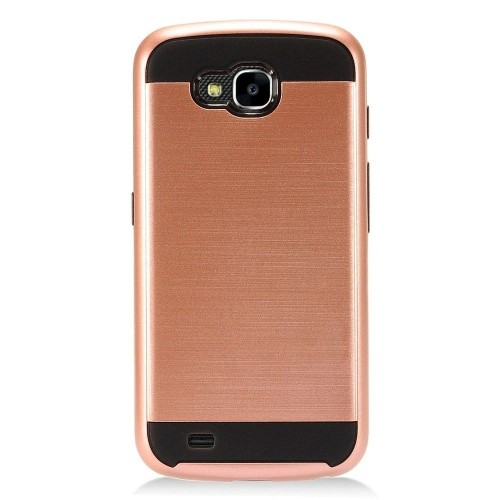Insten Hard Hybrid Brushed TPU Case For LG X Venture - Rose Gold/Black