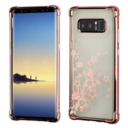 Insten Spring Flowers TPU Case For Samsung Galaxy Note 8 - Clear/Rose Gold